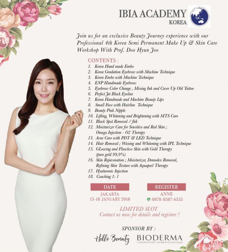 Professional IBIA 4th SEMI PERMANENT & SKIN CARE KOREA 15-18 Januari 2018 with Prof. Doo Hyu Joo fro