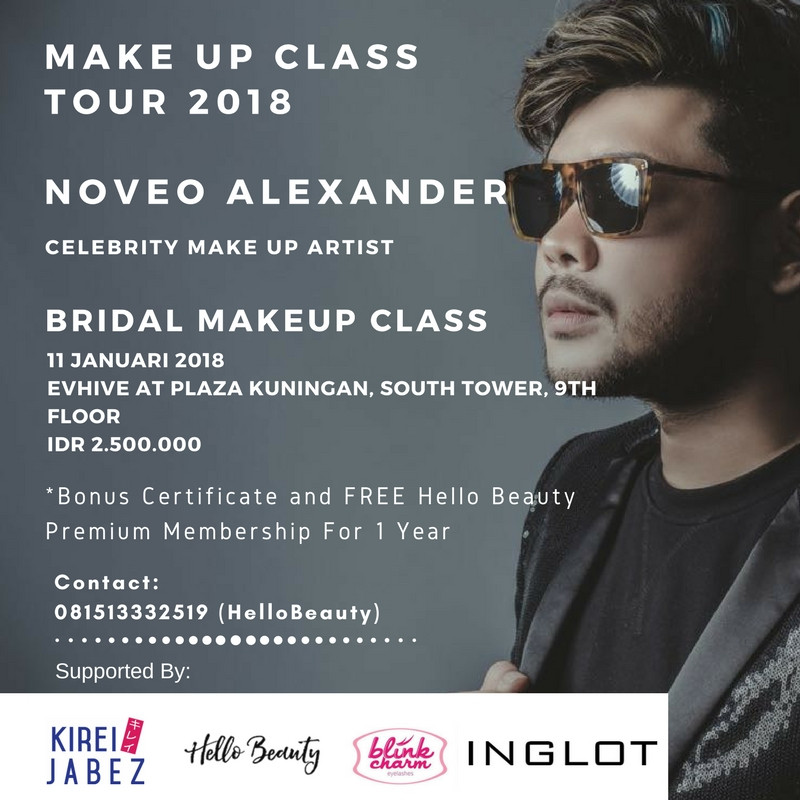 BRIDAL make up class tour 2018 by NOVEO ALEXANDER, 11 Januari 2018